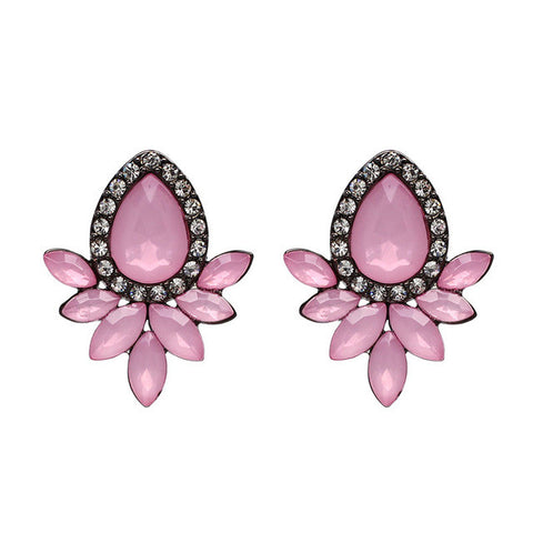 metal with gems stud crystal earrings for women