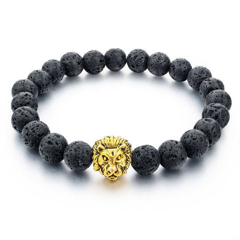 natural stone gold color lion strand bracelet