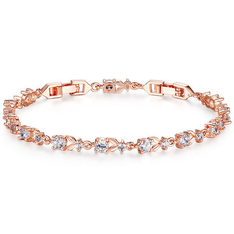 luxury rose gold color chain link bracelet - very-popular-jewelry.com