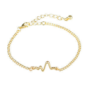 trendy heart beat rhythm shape chain bracelet