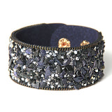 slake leather bracelet with crystals stone