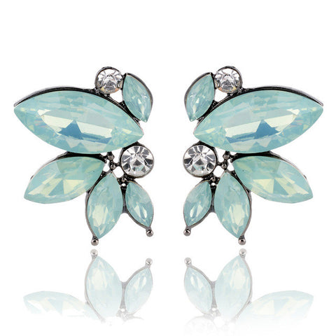 symmetrical acrylic opal stone stud earrings