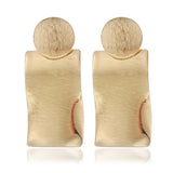 big round gold leaf square drop earrings