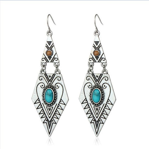 geometric carved blue stone big dangle earrings - very-popular-jewelry.com