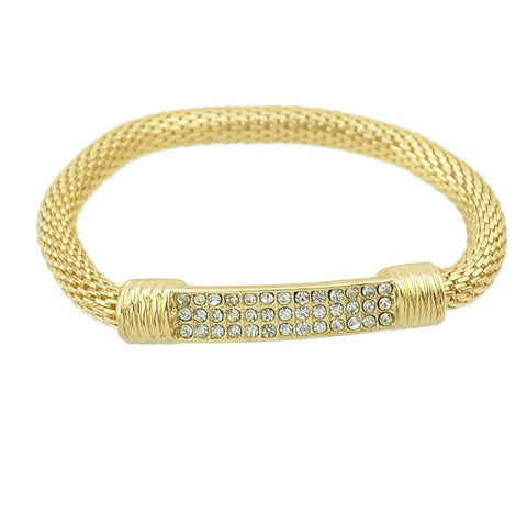 gold color rhinestone elastic chain bracelet