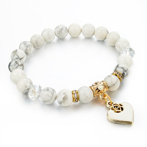 natural stone heart bracelet for women - very-popular-jewelry.com