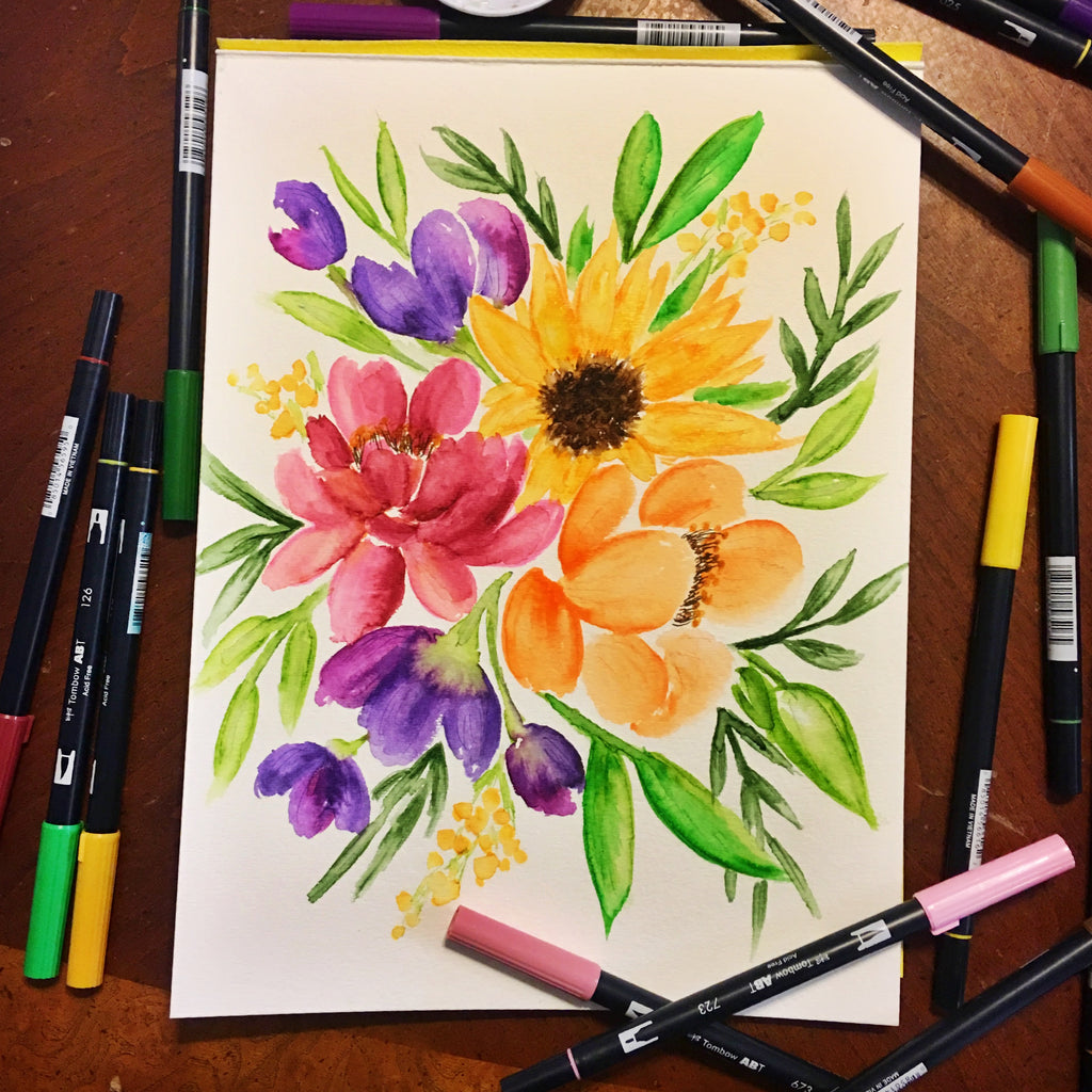 "How to ""paint"" watercolor flowers with Tombow Dual Brush Pens!"