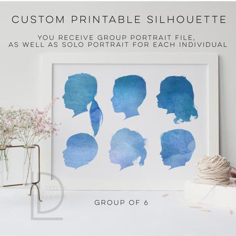 Water Color 6 Silhouette Portrait - Digital Only