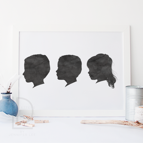 Watercolor 3 Silhouette Portrait - Digital Only