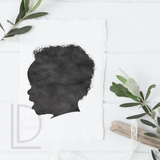 Watercolor Silhouette Portrait - Digital Only