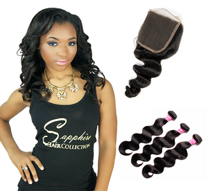 Lace Closure - Body Wave + 3 Bundles