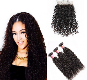 Lace Closure - Caribbean Curly + 3 Bundles