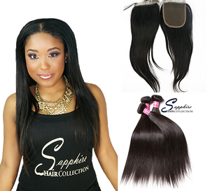 Lace Closure - Silky Straight + 3 Bundles