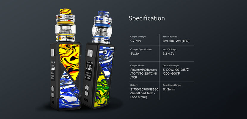 Freemax Maxus 100W Starter Kit Specifications