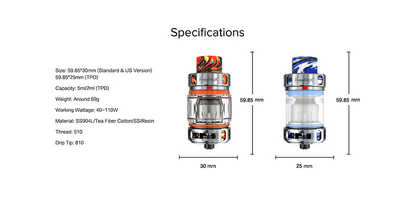 Freemax Maxus Pro Sub-Ohm Tank Specifiactions