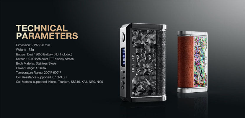 Lost Vape Centaurus Box Mod Parameters