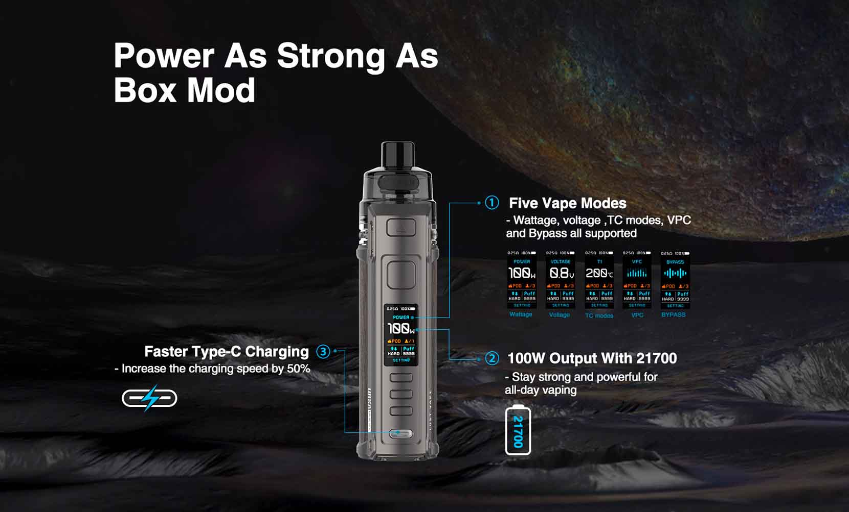 Lost Vape Ursa Quest 100W Multi Kit Power