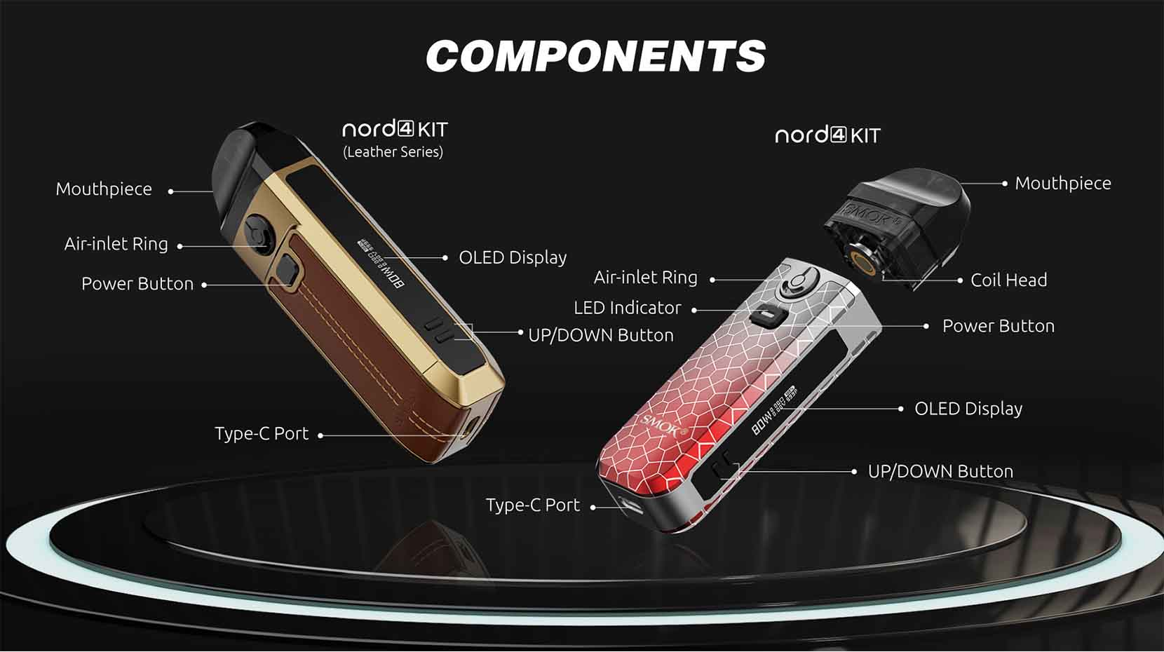 SMOK Nord 4 80W Pod System Components