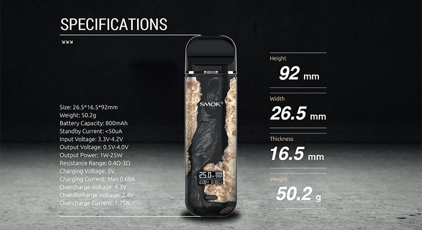 SMOK Novo X Pod System Specifications