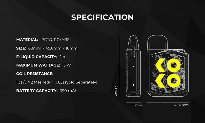 UWELL Caliburn Koko Prime Specifications