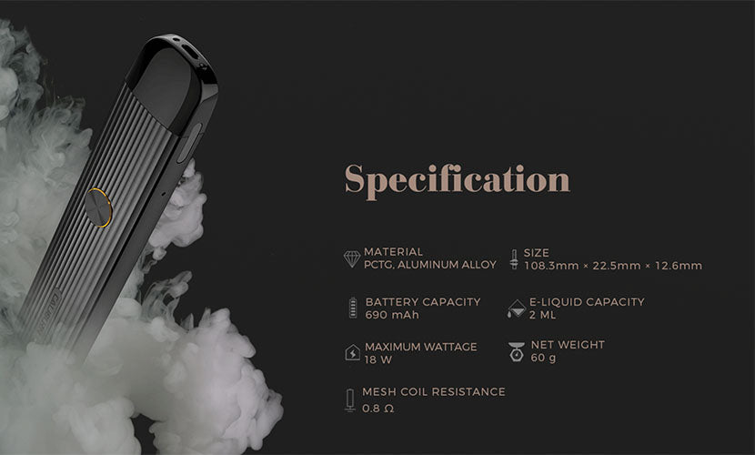 Uwell Caliburn G Pod System Specifications