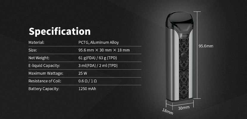 Uwell Crown Pod System Specifications