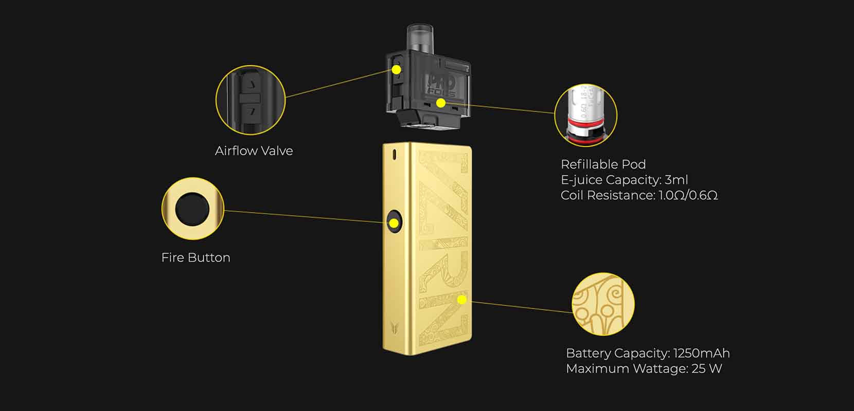 Uwell Valyrian Pod System Specifications