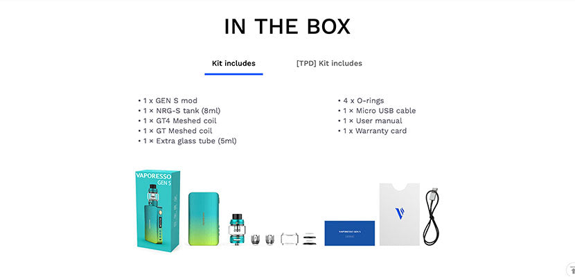 Vaporesso Gen S 220W Starter Kit Packaging