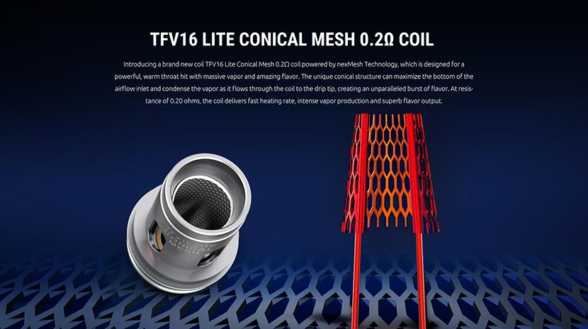 SMOK TFV16 Lite Conical Mesh Coil Features