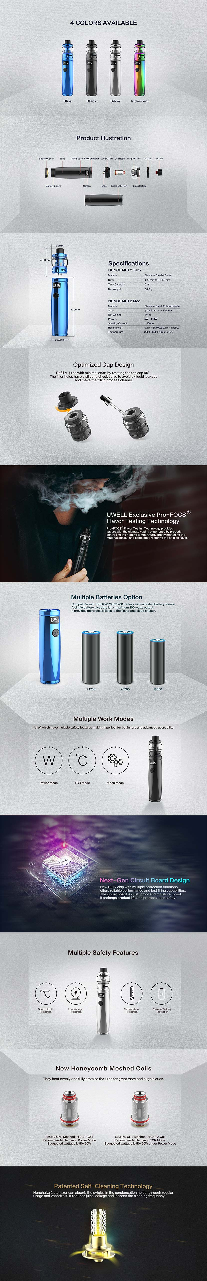 Uwell Nunchaku 2 Features and Specifications