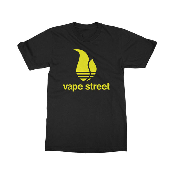 Vape Street 3 Stripe Black and Yellow T-Shirt