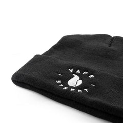 Vape Street Black White Circle Logo Beanie Close Up