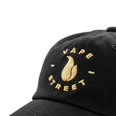 Vape Street Black Gold Circle Logo Dad Hat Close Up