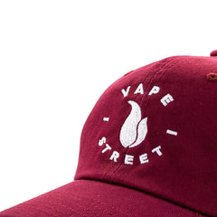Vape Street Maroon White Circle Logo Dad Hat Close Up