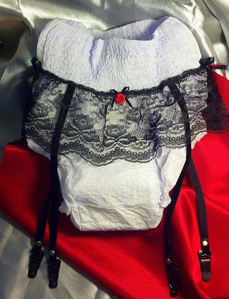Adult Diaper with Lace & Garter Straps