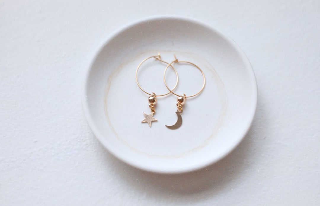 Dainty Star & Moon Hoops