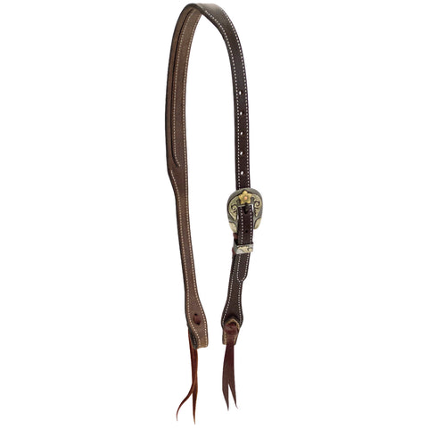 "3/4"" English Bridle Coffee Split Ear Headstall with Vegas Buckle"