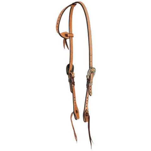"5/8"" Roughout Saddle Leather Buckstitched Single Ear Headstall with Vegas Buckles"