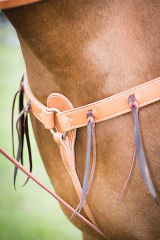 "1-1/4"" Harness Leather Breast Collar With  Latigo Strings"