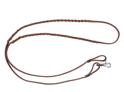 "5/8"" x 80"" - 3 Plait Harness Leather Adjustable Barrel Racing Reins"