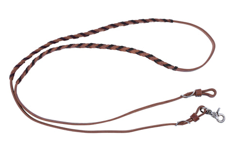 "5/8"" x 80"" - Latigo Laced Harness Leather Adjustable Barrel Racing Reins"