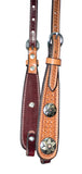 "5/8"" Golden Leather Single Ear Bell Cheek With Conchos On Headstall"