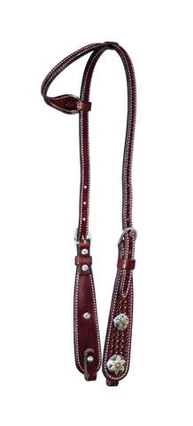 "5/8"" Rosewood Leather Single Ear Bell Cheek With Conchos On Headstall"