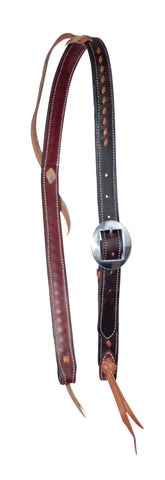 "1"" Leather Buckstitched Cowboy Knot Slip  Ear Headstall"