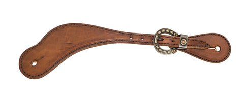 Youth Harness Leather Cowboy Spur Straps with  Horseshoe Buckle