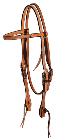 "5/8"" Rough Out Leather Twisted and Tied Browband Headstall"