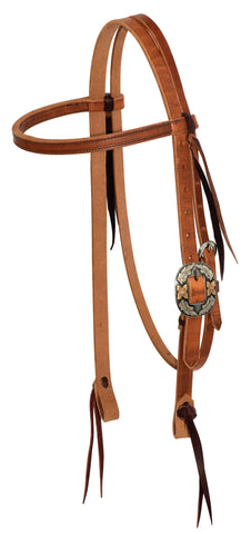 "3/4"" Twisted & Tied Leather Browband With Silver Texas Buckle"