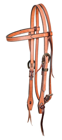 "5/8"" Rough Out Leather Browband  Headstall With Silver Horseshoe Buckles"