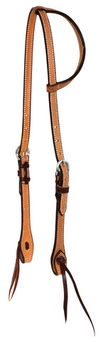 "5/8"" Rough Out Leather Twisted and Tied Single  Ear Headstall"