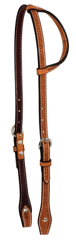 "5/8"" Golden Leather Spider Stamp Single  Ear Headstall"